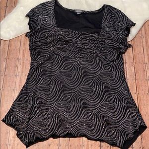 Dressbarn Collection Sparkly Black&Silver Blouse